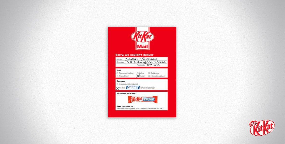Kitkat mail campaign - offering a free kitkat chunky