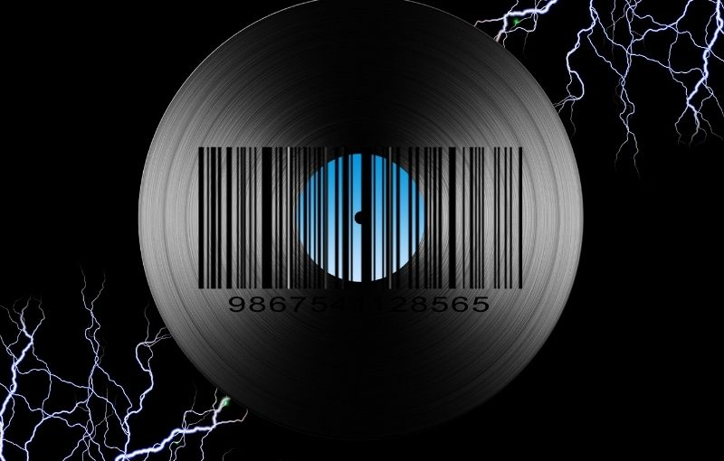 Music-fulfilment-technicalities-concept-CD-with-barcode-surrounded-by-electricity-voltage